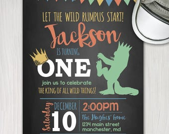 wild things first birthday invite, boy 1st birthday printable invitation, wild rumpus birthday, king of all wild things, chalkboard invite