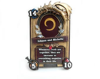 photo frame card hearthstone original gift fanart from polymer clay  for real gamer valentine's day home decor