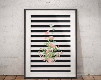 Striped Bouquet Art | Bouquet Flower Print, Floral Bouquet Print, Floral Bouquet, Butterfly Bouquet, Butterfly Garden Art, Stripe Butterfly
