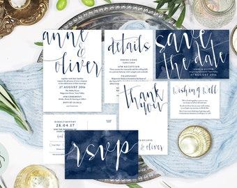 Navy wedding invitation set, Wedding suite, Wedding stationery, Printable wedding invitation, Navy wedding invites, #AOC1004