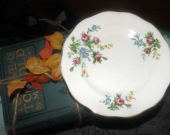 Mid-century (c.1950s) British Anchor Pottery Regency line bread-and-butter, dessert or tea plate. Roses, multicolor florals, gold edge