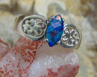 Mosiac Opal made from Australian opal solid sterling silver flashy ring fire
