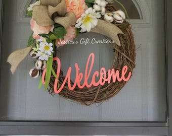 Made to Order Welcome Grapevine Wreath/Front Door Wreath/Peonies Decor/Cotton Boll/Everyday/Southern Decor/Year Round/Cotton Wreath/Burlap