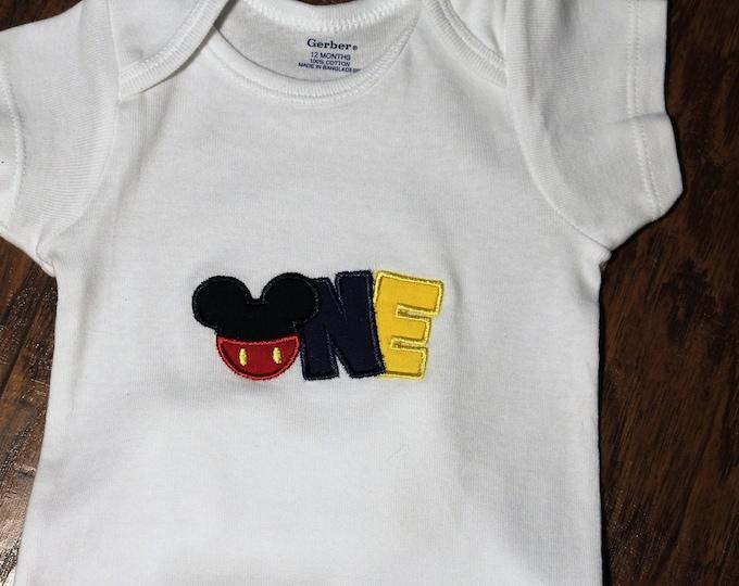 1st birthday boy bodysuit, Micky Mouse inspired birthday shirt,Disney birthday,Mickey first birthday, first birthday boy bodysuit,boys