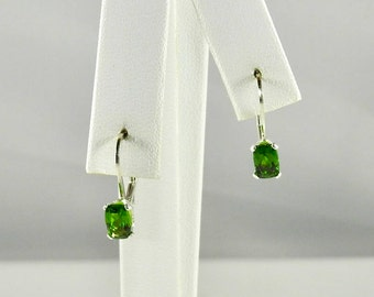 Russian Chrome Diopside 1.15 TCW 6 x 4 MM Rectangular Cushion Cut Sterling Silver Leverback Earrings