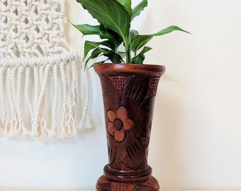 Carved Wood Vase / Wood Folkart Vase / Flower Carved Vase