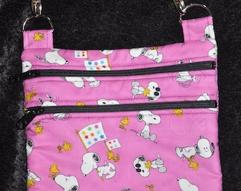 New!  Peanuts - Pink - Snoopy Fabric - Quilted Cross Body Messenger Bag - Tote - Shoulder Bag