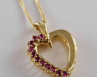 Heart Ruby 14K Gold Necklace