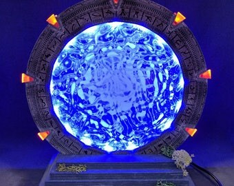 Stargate inspired replica LED wooden desk lamp, geek lamp, man cave light, scifi lamp version 1.0