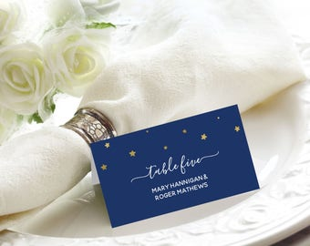 Starry Night Gold Foil Wedding Place / Name Cards