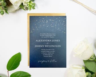 Starry Night Navy and Gold Wedding Invitation. Handmade.  Navy blue, gold foil stars, white text. Unique, Fun Invite.