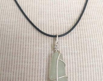 Pale Green Sea Glass Necklace/Pendant/Seafoam/Sterling Wire Leather/Jewelry/Urban Boho/Maine/Sea Swag