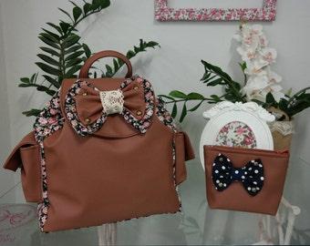 Myrto Caramel Brown Black Floral Backpack
