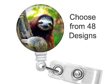 Sloth Badge Reel, ID Badge Holder, Medical Badge Reel, Animal Badge Reel, Belt or Alligator clip, Three toed sloth badge reel