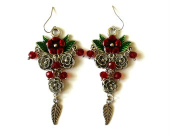 Flower Earrings, Bohemian Earrings, Floral Earrings, Hippie Earrings, Gypsy Earrings, Ruby Red Earrings, Red Crystal Earrings