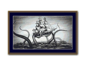 Sea Monster Kraken Counted Cross Stitch Pattern / Chart, Mythical Creature,  Instant Digital Download  (AP408)