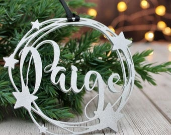 Personalised Name Silver Star Bauble Xmas Tree Decoration