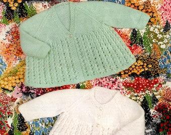 "Original Vintage Knitting Pattern~Sirdar 3298~Pretty Matinee Coats~DK~18-19"""