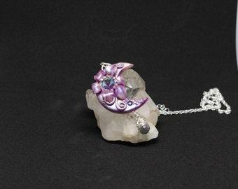 Moon pendent-Swarovski pendent-moon necklace- Sugar plum Fairy