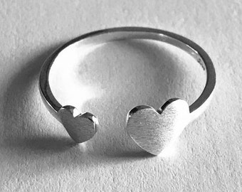 Hearts, Two hearts, Silver, Gift for Her, Fashion Jewelry