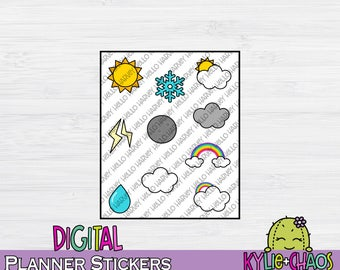 Weather Digital Planner Stickers for GoodNotes Planners