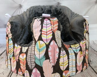 Boho Feathers Charcoal Bumbo Cover