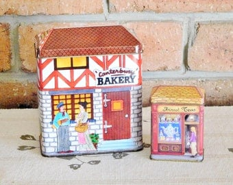 Vintage Canterbury Bakery and Quality Coffee, Finest Teas collectable village tins, gift boxes