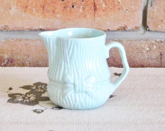 1960s English pale green creamer, syrup, milk jug with bow detail, 'England' stamped in base