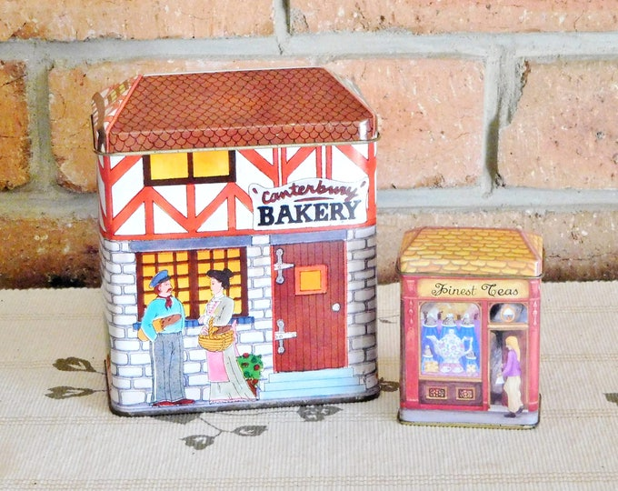Featured listing image: Vintage Canterbury Bakery and Quality Coffee, Finest Teas collectable village tins, gift boxes