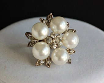 Pearl and Rhinestone Adjustable Statement Ring