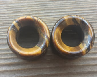 Pair of Real TIGER EYE TUNNEL Plugs Gauges Body Jewelry Double Flared - Pick Size