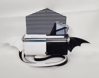 Black and White Bat Purse-Wallet