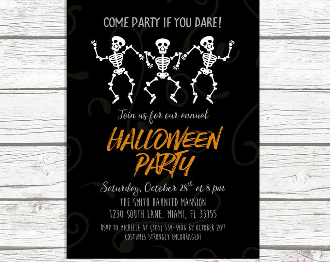 Halloween Invitation, Skeleton Halloween Invitation, Halloween Party Invitation, Dancing Skeletons Halloween Invitation, Costume Party