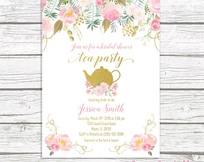 Tea Party Invitation, Bridal Shower Invitation, Bridal Tea Invitation, Bridal Shower Tea Invite, Pink Gold Bridal Shower Invitation