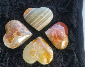 Beautiful Onyx Heart Stones - High Quality A +++ 40mm Mineral Specimens - Altar Home Decor Display
