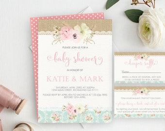 Shabby Chic Baby Shower Package, Baby Shower Invite, Diaper Raffle, Books for Baby, Baby Shower Kit, Floral Baby Shower, Printable, Girl