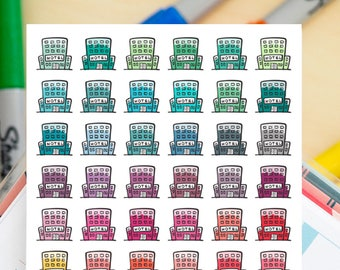 42 Hotels Mini Icons -  Colourful Hand Drawn Sticker Planner