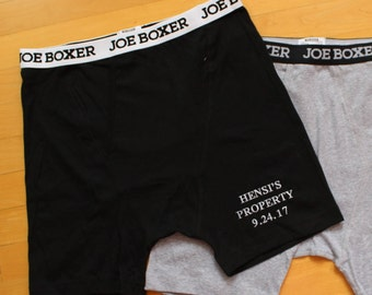 Groom Boxer Shorts, Anniversary Gift for Husband, BLACK,GREY,Fitted, Personalized Gift for Groom, Honeymoon gift, Underwear, embroidered