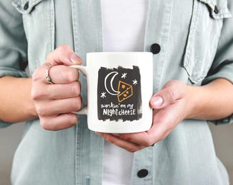 30 Rock Coffee Mug - Workin' on my Night Cheese | Tina Fey, Liz Lemon, TV, Quotes