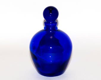 Vintage Cobalt Blue Glass Perfume Bottle