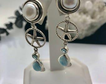 Larimar-Pearl-Topaz-Teardrop-Starfish-Sterling Silver-Earrings