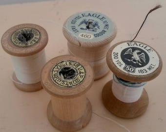 4 Thread Spools, Cotton Reels, Eagle Reel, Wabi Sabi, Interior Decor, Eagle, Sewing Thread, Craft Spools