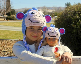 """American Girl Doll and Me Matching hats, Boots the Monkey hat, 18"""" American Girl Doll hat, My Doll and Me matching Monkey Hats"""