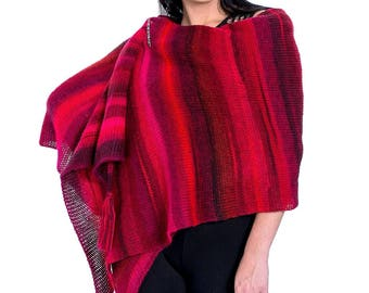 Oversized scarf wrap | Knit shawl - bohemian shawl - oversized knit shawl - oversized wool scarf - anniversary gift - gift to wife red scarf