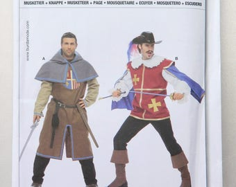 Musketeer and Page Costumes - Burda Uncut Sewing Pattern 7976, Men's Size 38 - 50; French Renaissance Medieval Tunic, Hood, and Mock Boots