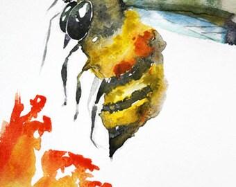 ORIGINAL Watercolor BEE Painting Bumblebee Art Honey Bee Original Home