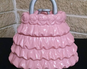 Purse Cookie Jar - David's Cookies - Pink Ruffle Purse / Handbag - Ceramic Canister / Storage