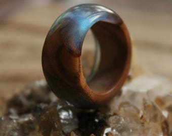 alternative wedding ring for wife organic ring eco gift for girlfriend ring sky ring wood resin ring bands boho ring nature ring rustic ring