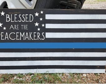 Police Blue Line American Flag Wood Sign