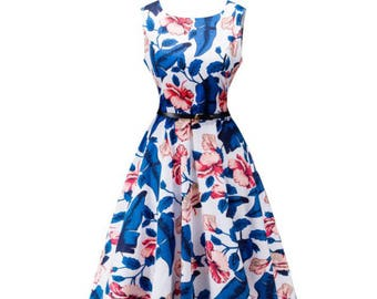 Blue Sleeveless Puff Flowy Floral Thigh Length Dress - Blue